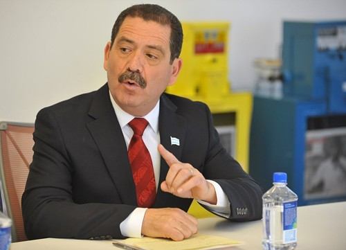Jesus Garcia answers a question at a debate in front of the Sun-Times editorial board on January 30.