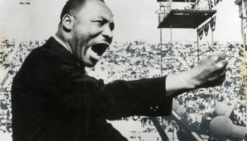 Martin Luther King Jr. speaking at Soldier Field in 1966, the year he and his family took up residence in North Lawndale