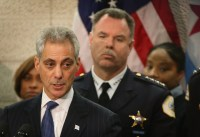 Mayor Rahm Emanuel and police superintendent Garry McCarthy at a news conference January 31. They announced that they were reassigning 200 officers to patrol because of a rising murder rate.