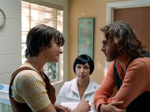 Michelle Sinclair (left) with Maya Rudolph and Joaquin Phoenix in Inherent Vice
