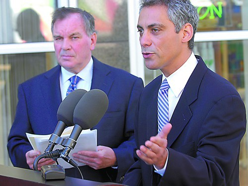 Rahm Emanuel speaks at a 2005 press conference with former mayor Richard M. Daley, whose patronage machine had helped send Emanuel to Congress three years earlier.