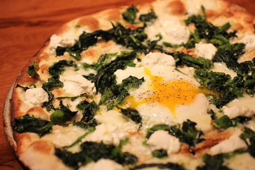 Roman-style pizza, with rapini and ricotta