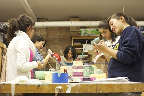 Students work on a pottery project at ElevArte in Pilsen