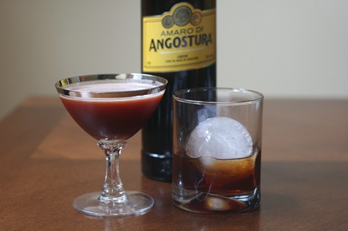 The Amora Amaro (left) and Road to Manhattan cocktails