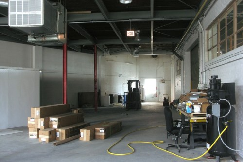 The back room at Alarmist. Thats the cooler at far left and the air compressor against the right-hand wall.