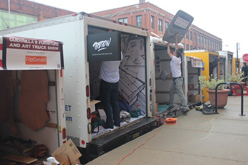 Trucks setting up next to the loading docks around the corner of Fulton market and Aberdeen