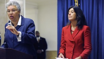Cook County board president Toni Preckwinkle (left) says states attorney Anita Alvarez (right) has a narrow and punitive approach to justice.