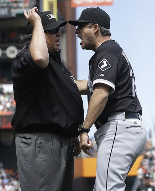 Ventura expresses his uncertainty about the call to crew chief Fieldin Culbreth.