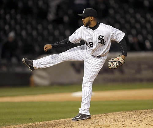 White Sox infielder Leury Garcia was called on to pitch the 14th yesterday. Like other Sox pitchers, he found it hard to throw strikes.