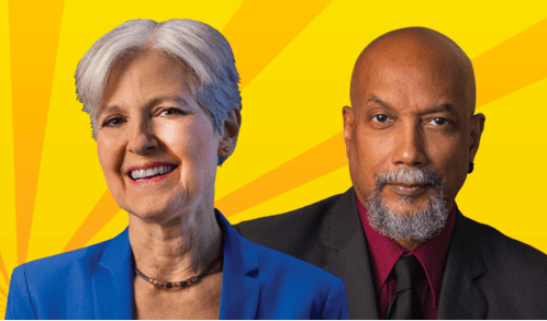 Green Party presidential candidate Jill Stein (left) and her Vice President candidate Ajamu Baraka (right)
