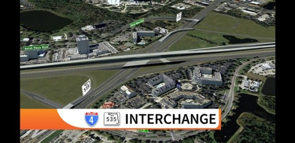 Renderings of the updated Beyond the Ultimate I-4 interchange with 535. The green area in the upper right corner is the current location of the Crossroads plaza. - IMAGE VIA FDOT