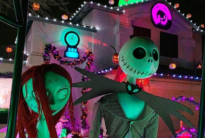 Sally and Jack Skellington at the Scary Christmas House in Glendale. - BOB SPACY JR.
