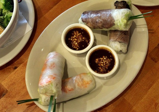 The spring rolls can come filled with shrimp, pork, brisket or chicken for $4.95. - LEXIE MILLER