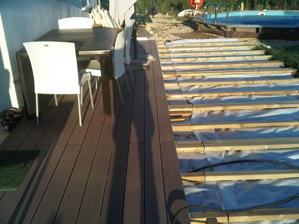terrasse en bois composite sur