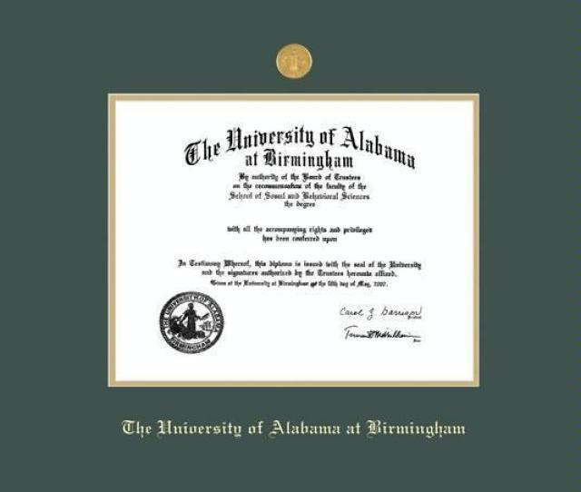 The University Of Alabama At Birmingham Diploma Md Frame With Medallion And Green And Gold Double Mat And Gold Embossing