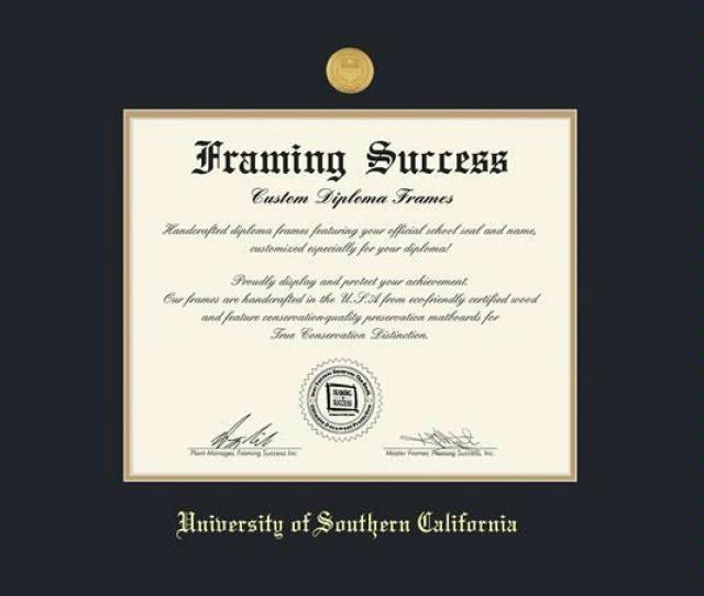 University Of Southern California Diploma Ba Ma Phd Frame With Medallion Black And Gold Double Mat And Gold Embossing