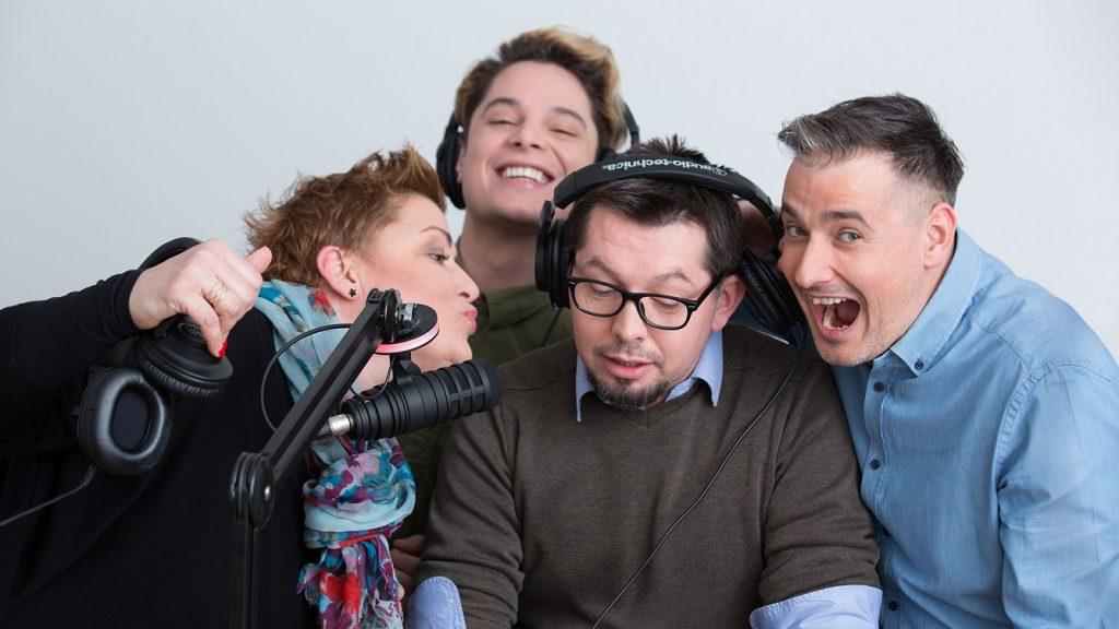 Péter Petra, Prekopa Donát, Rímer Péter és Kaldenecker Antal műsorvezetők. Fotó: Manna FM