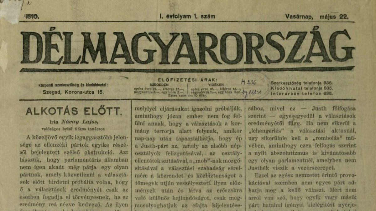 A Délmagyarország első száma, 1910. május
