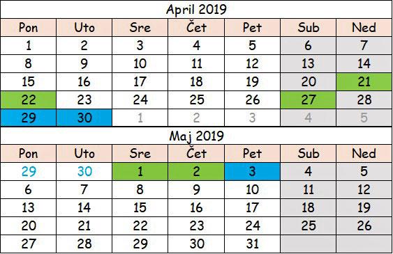 April i maj 2019 slovenija neradni dani
