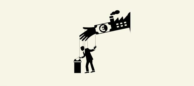 Temabild: Lobbyism. En hand som symboliserar industriintressen kontrollerar en marionett.