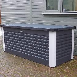 coffre de rangement en metal anthracite 1000l patio box 1 46m trimetals