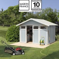 abri de jardin en pvc 7 53m utility blanc et gris bleu grosfillex kit ancrage offert
