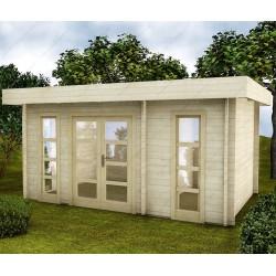 abri en bois cloisonne 15m moderne madriers 28mm gardy shelter
