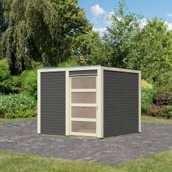 abri de jardin en bois vitrifie gris 19mm qubic 6 05m karibu