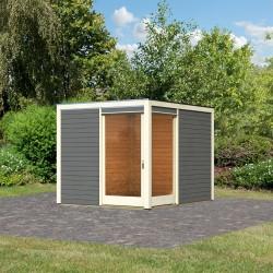 abri a toit plat en bois vitrifie gris 28mm qubu eck 9 24m karibu