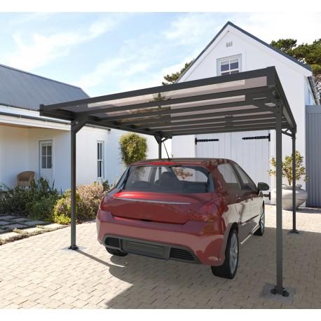carport monopente mistral en aluminium anthracite 3x5 10m et polycarbonate trigano jardin