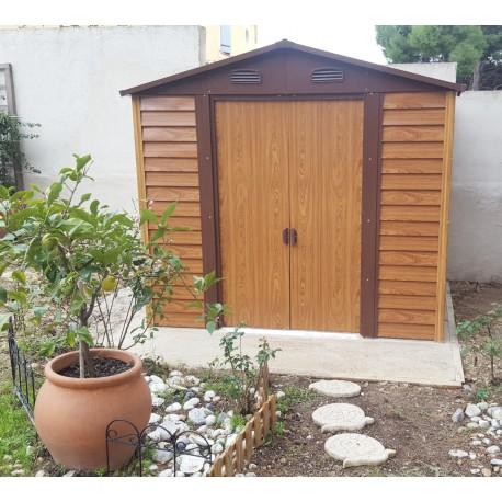 abri de jardin en metal aspect bois 4 6m kit d ancrage x metal