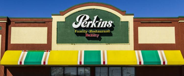 Muncie - Circa March 2017: Perkins Family Restaurant and Bakery Location. Perkins and Marie Callender's are sister restaurants II