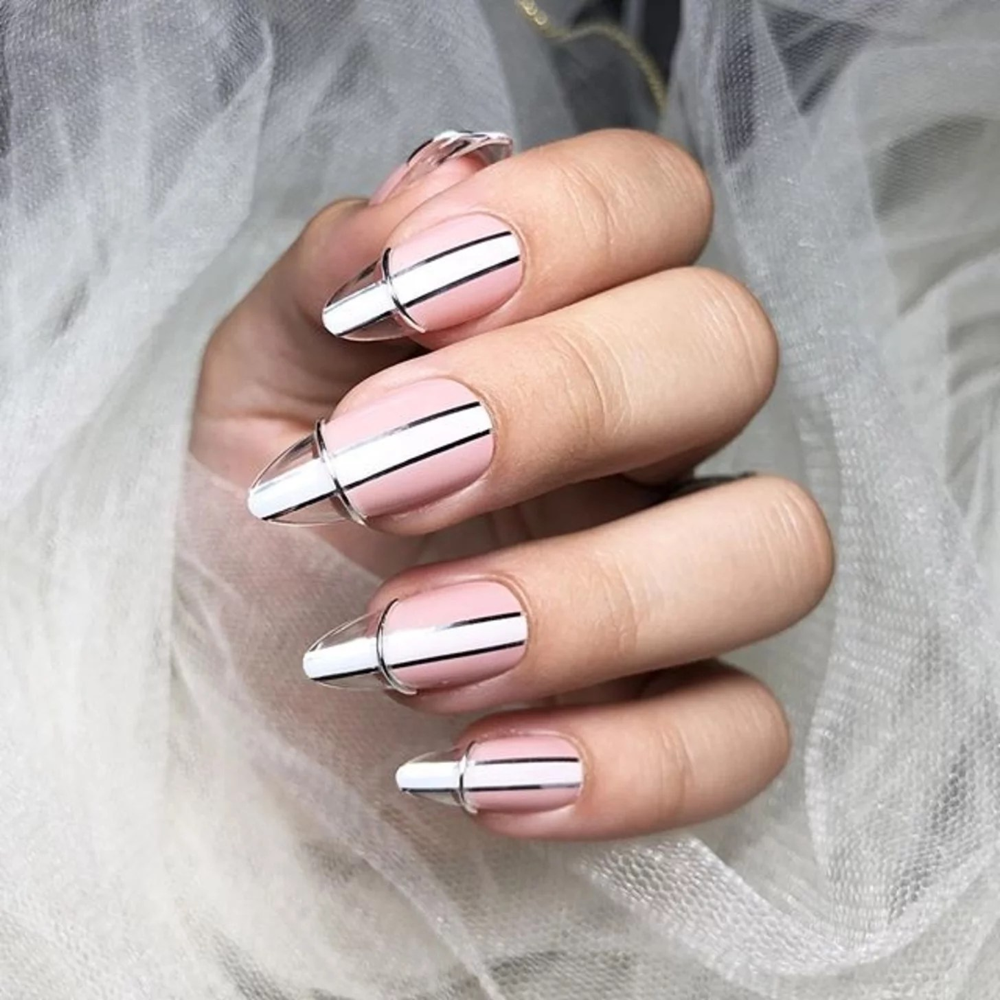 Floating French Tip Manicure Trend For Fall 2019 Popsugar Beauty