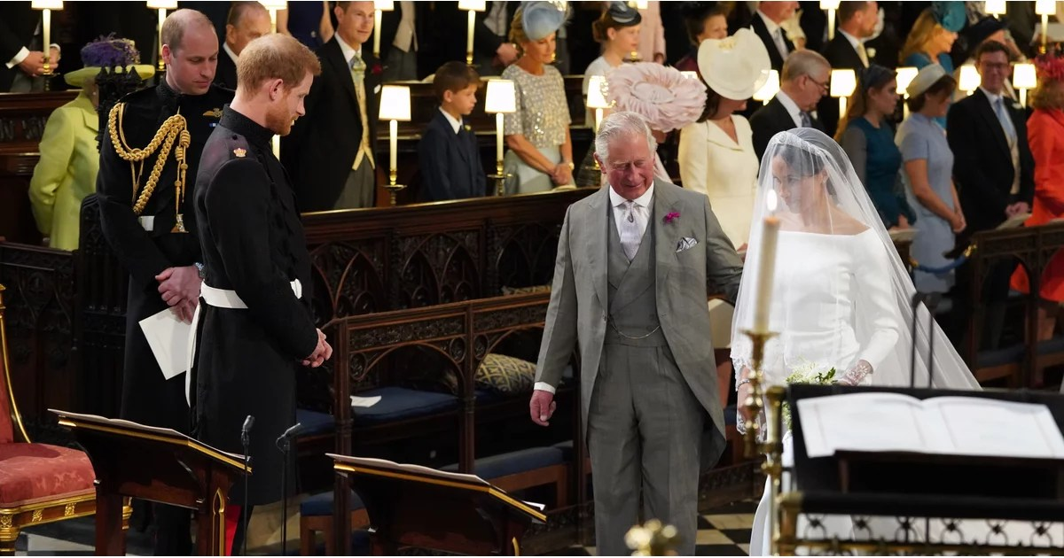 """Let's Reflect on Prince Harry Thanking His """"Pa"""" For Walking Meghan Markle Down the Aisle"""