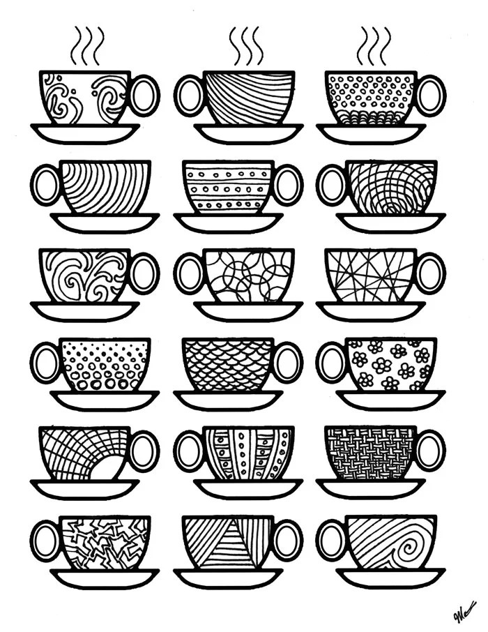 get the coloring page coffee cups   printable adult