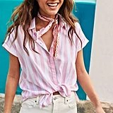 Relaxed Vertical-Stripe Cap-Sleeve Shirt
