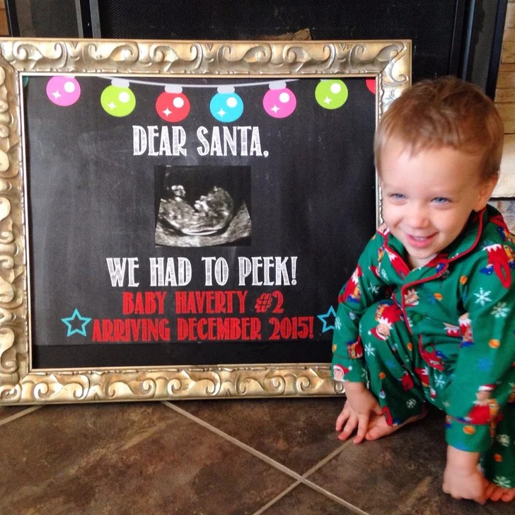 Dear Santa Peek Photo Prop Cute Holiday Pregnancy