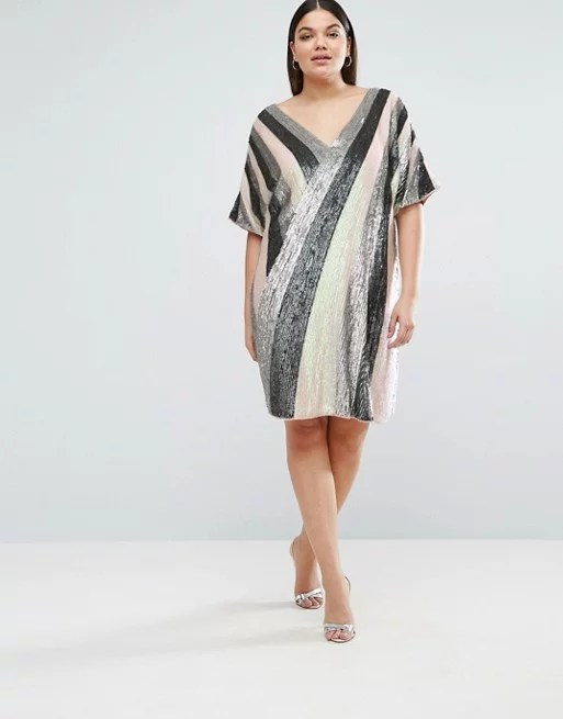 You'll love the V silhouette and major shine on Asos Curve's Linear Sequin Shift Dress ($181).