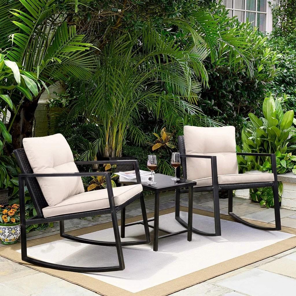 modern black 3 piece patio furniture