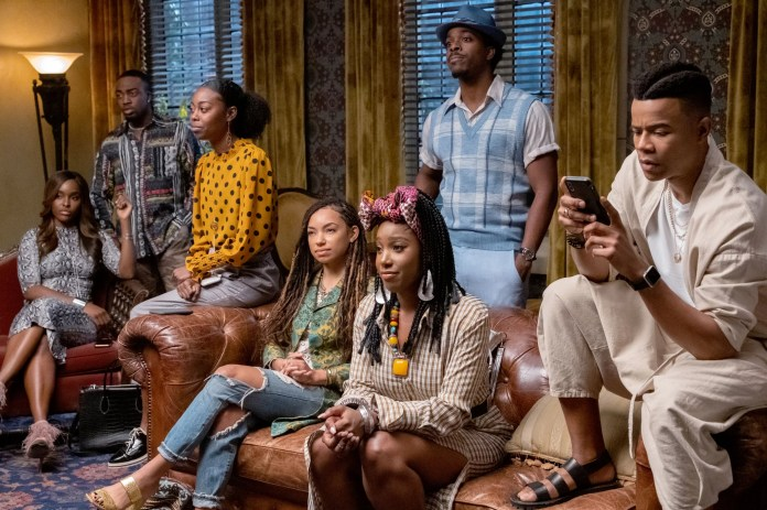 DEAR WHITE PEOPLE, from left: Antoinette Robertson, Logan Browning, Ashley Blaine Featherson, Marque Richardson, (Season 3, Episode 308, aired August 2, 2019), ph: Lara Solanki / Netflix / Courtesy Everett Collection