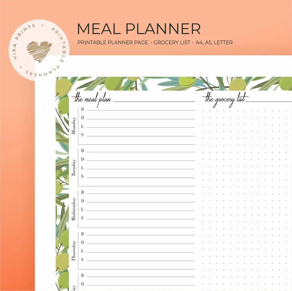Weekly Meal Planner Printable 3