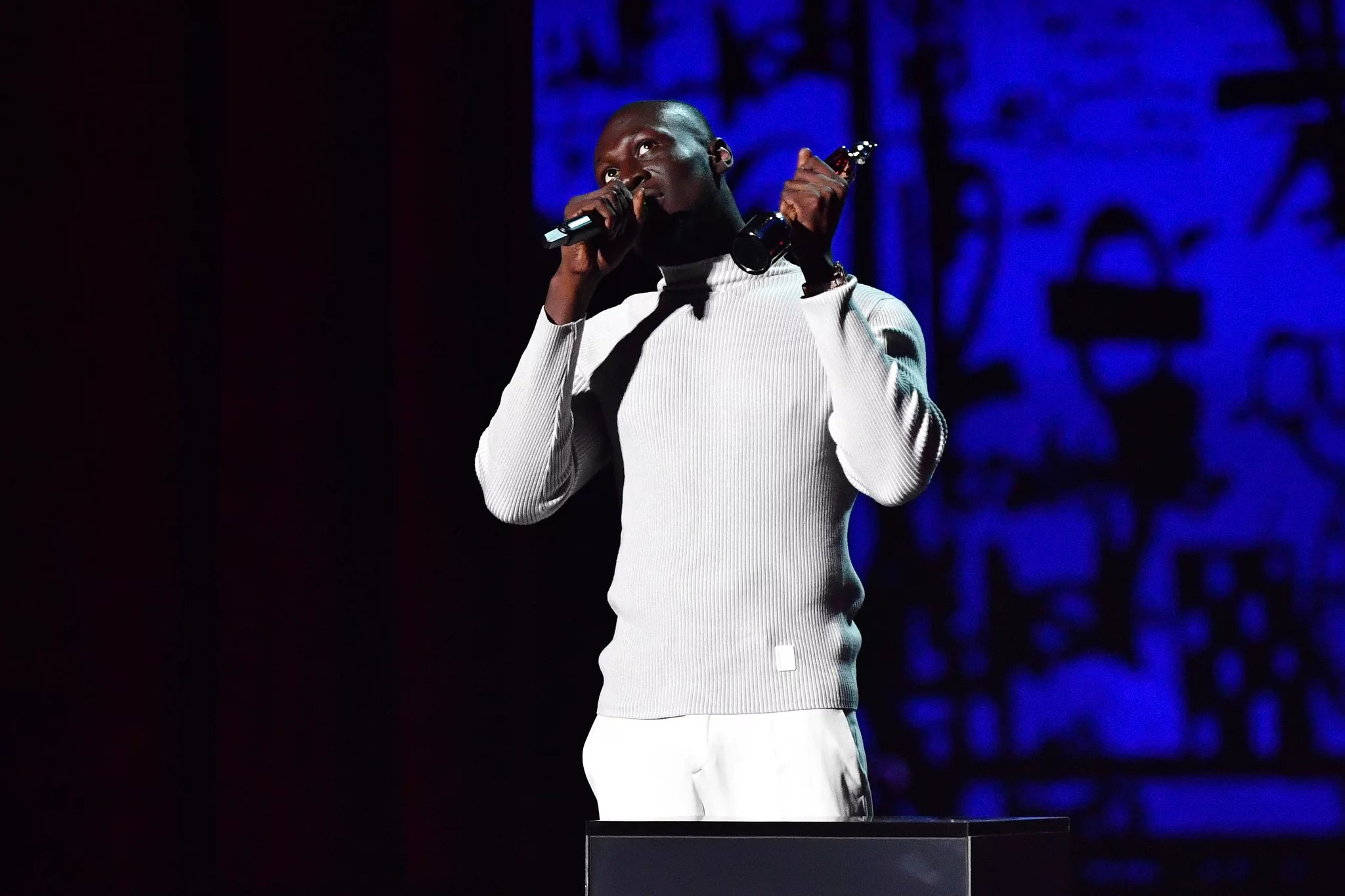 LONDON, ENGLAND - FEBRUARY 18: (EDITORIAL USE ONLY) Stormzy accepts the Best Male Solo Artist award during The BRIT Awards 2020 at The O2 Arena on February 18, 2020 in London, England. (Photo by Gareth Cattermole/Getty Images)