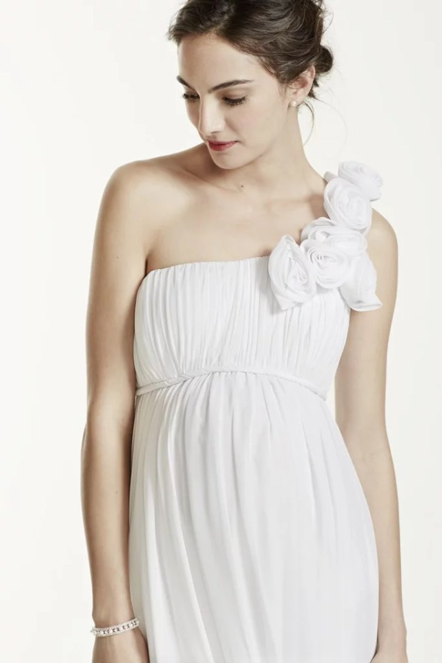 David's Bridal One Shoulder Chiffon Maternity Dress