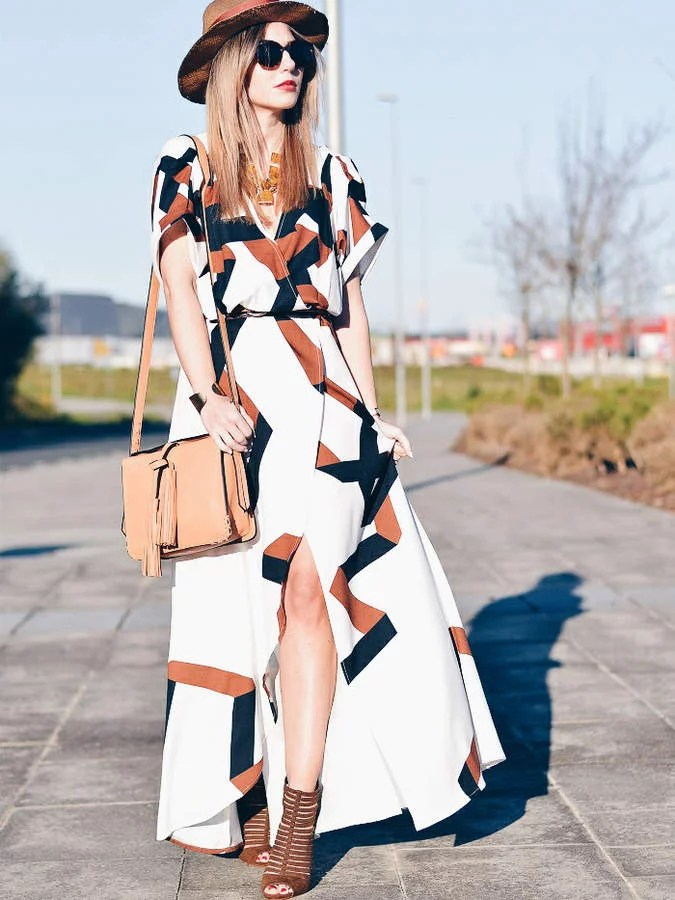 Romwe Geometric Print Split Maxi Dress   Cheap Maxi Dresses 2018     Romwe Geometric Print Split Maxi Dress