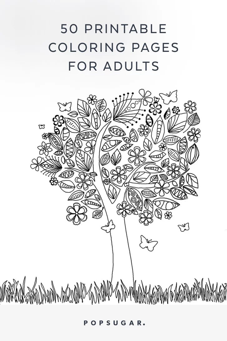 Free Printable Adult Coloring Pages | POPSUGAR Smart ... | coloring pages for adults online printable