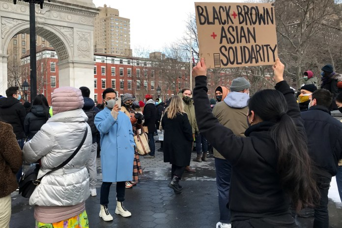 NEW YORK, NEW YORK - FEBRUARY 20: Fashion designer Prabal Gurung (L) attends the End The Violence Towards Asians rally in Washington Square Park on February 20, 2021 in New York City. Since the start of the coronavirus pandemic, violence towards Asian Americans has increased at a much higher rate than previous years. The New York City Police Department (NYPD) reported a 1,900% increase in anti-Asian hate crimes in 2020. (Photo by Dia Dipasupil/Getty Images)