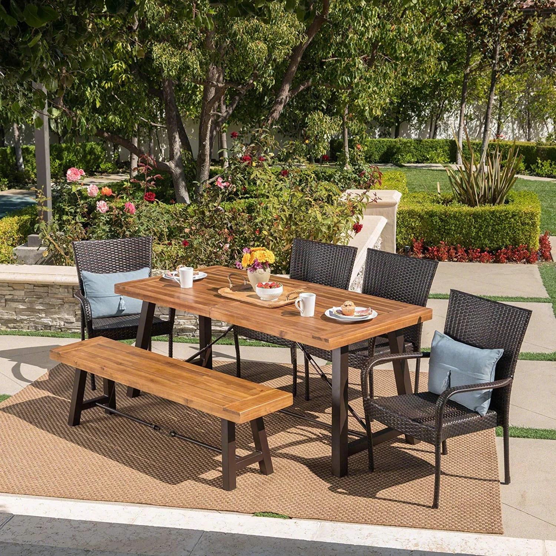 salla outdoor acacia wood dining set