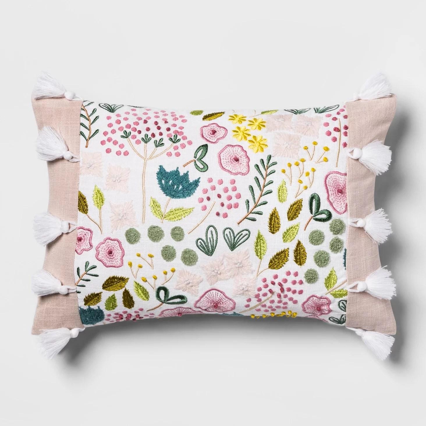 pink floral embroidered lumbar pillow