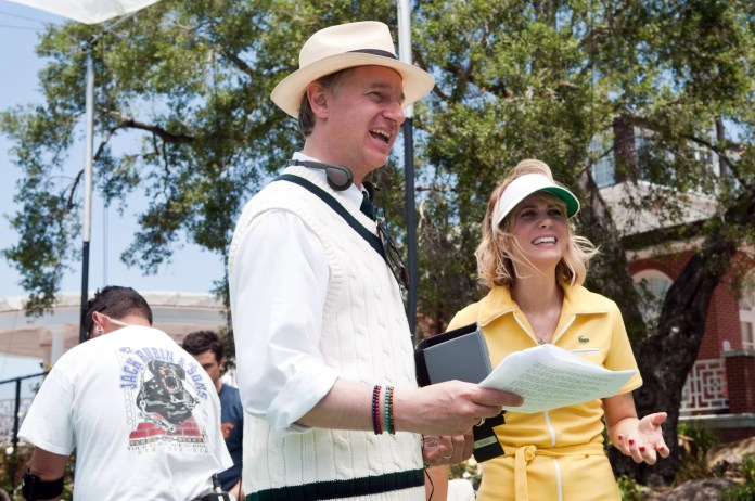 BRIDESMAIDS, from left: director Paul Feig, Kristin Wiig on set, 2011, Ph: Suzanne Hanover,  Universal/courtesy Everett Collection
