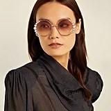 Fendi Crystal Embellished Round-Frame Sunglasses